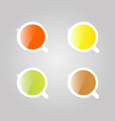 Multicolored shiny mugs with tea top view vector