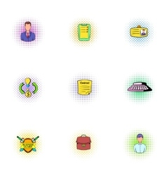 Office icons set pop-art style vector image vector image