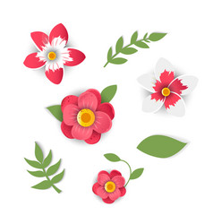 Paper cut style of bright flowers vector