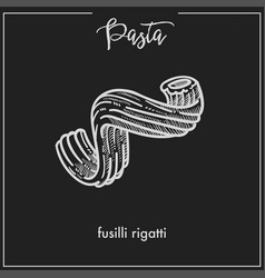Pasta fusilli rigatti stars chalk sketch for vector