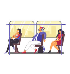 people on their way home in train or metro vector image