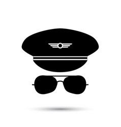 pilot black icon silhouette vector image