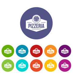 pizza italian icons set color vector image