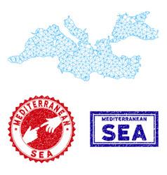 Polygonal network mediterranean sea map and grunge vector