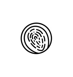 round fingerprint in circle icon flat style vector image
