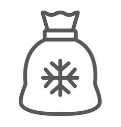 santa bag line icon christmas and holiday vector image