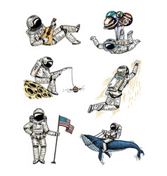 set of astronauts in space collection soaring vector image