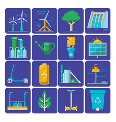 Set of energy and ecology flat icons vector