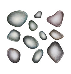 Set of watercolor spa stones isolated vector