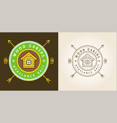 Set vintage logo with wooden cabin retro print vector