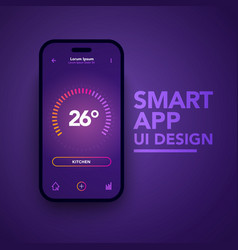 smart home app temperature control center vector image