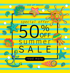 summer sale banner with pieces of marine items vector image