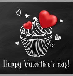 sweet cake with red hearts vector image