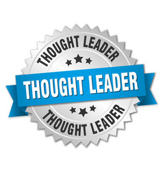 thought leader round isolated silver badge vector image vector image