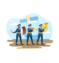 Three male soldiers are marching as a music band vector