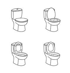 Toilet sketch sign bowl with seat line art vector