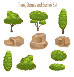 tree bush and stone landscape and garden elements vector image