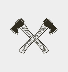 Two crossed axes isolated on white background vector