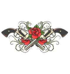 Two guns and roses with thorns tattoo vector
