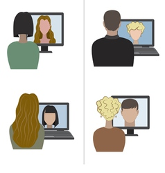 Two pair having a video chat through the internet vector image