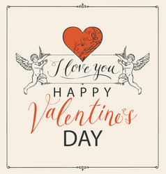 valentine card with angels heart and inscriptions vector image