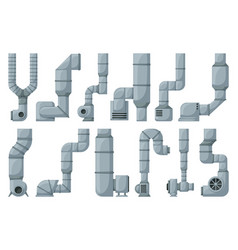 Ventilation pipe cartoon set icon isolated vector