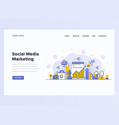 web design flat concept social media marketing vector image