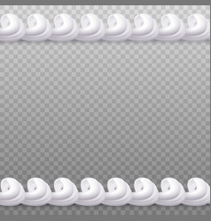 Whipped cream seamless border isolated on vector