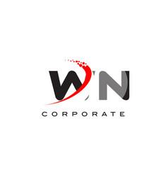 Wn modern letter logo design with swoosh vector