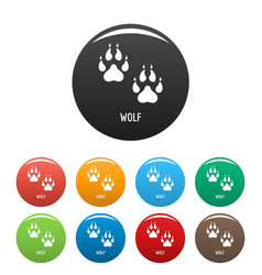 wolf step icons set color vector image