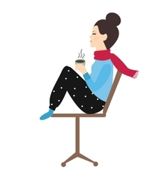woman holding coffee tea mug in chair enjoy her vector image