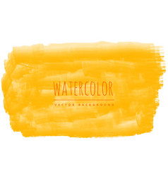 Yellow watercolor brush stroke stain background vector