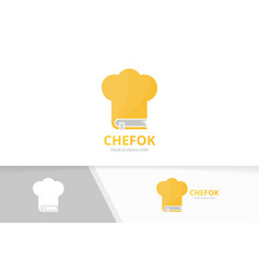 book and chef hat logo combination kitchen vector image vector image