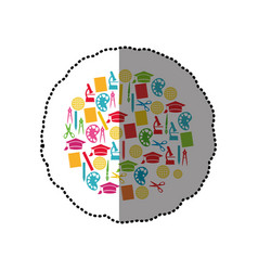 colorful sticker set of study icons in circle vector image