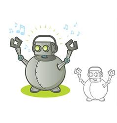 Robot with Headphones vector image