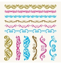Set of perfect calligraphic brush vector image