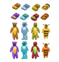 Baby costumes plush animals icons set vector image