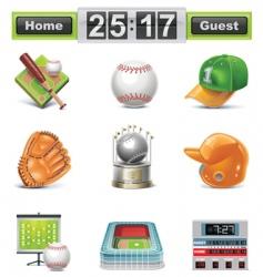 baseball softball icon set vector image