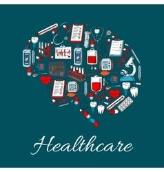 Brain symbol made up of medicine healthcare icon vector image vector image