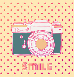 retro hand drawn hipster photo camera isolated on vector image