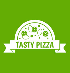 tasty pizza sign icon green vector image vector image