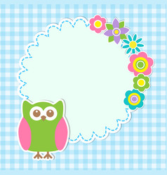cute owl and flowers vector image vector image