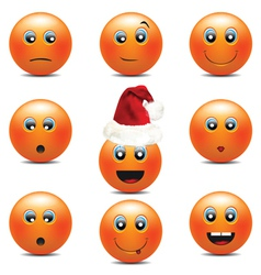 orange smiley faces vector image vector image