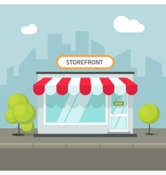 Storefront in the city store building on vector image