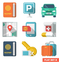Traveling Flat Icons 2 vector image vector image
