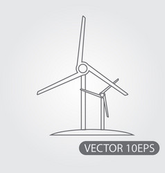 windmill icon black and white outline drawing vector image vector image