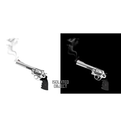 Gun revolver with smoke from the barrel vector image