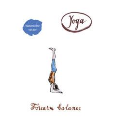 woman doing forearm balance yoga pose vector image