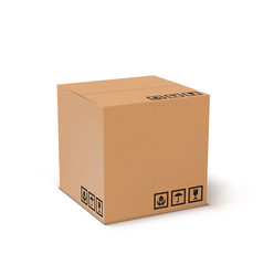 3d brown carton delivery packaging container box vector