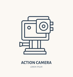 Action camera flat line icon extreme photography vector
